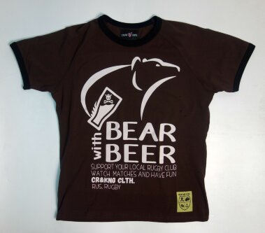 Футболка A Bear With Beer Коричневая ФКК10001.